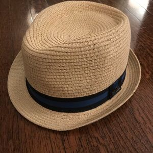 Quiksilver Straw Fedora with Navy/Black Band